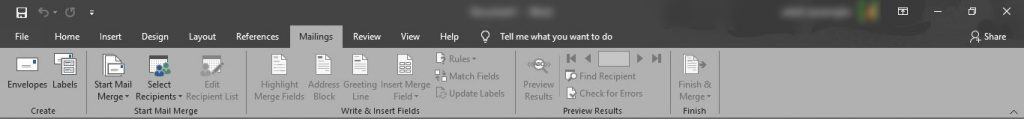 MS Word Mailing Tab, Ms Office,Office 2016